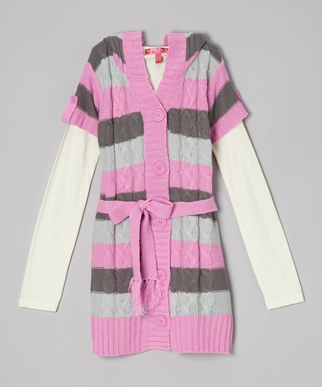 Heart Pink Stripe Hooded Layered Duster - Girls