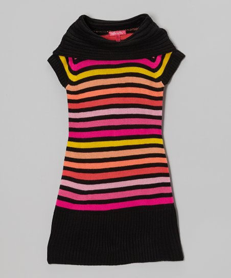 High Rise & Black Stripe Cowl Neck Sweater Dress - Girls
