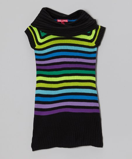 Bluebell & Black Stripe Cowl Neck Sweater Dress - Girls