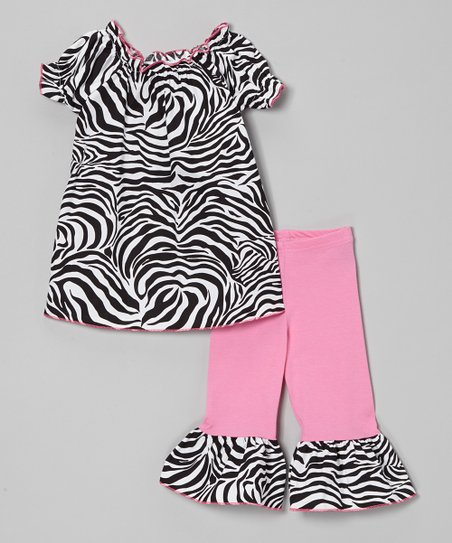 Black Zebra Peasant Top & Ruffle Capri Pants - Toddler & Girls