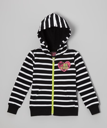 Black & White Stripe Zip-Up Hoodie - Girls