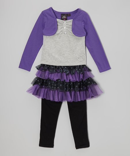 Gray & Purple Layered Top & Skirted Leggings - Girls
