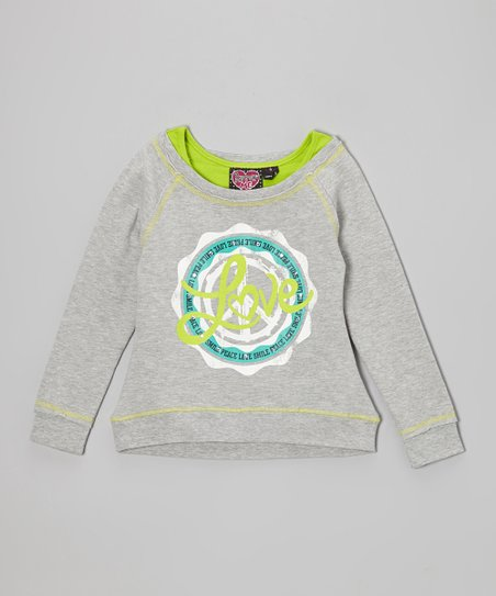 Gray & Lime Green 'Love' Layered Sweatshirt - Girls