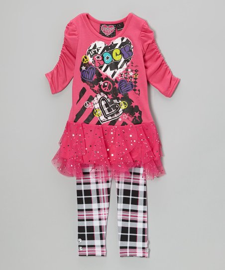 Pink Hearts Tunic & Plaid Leggings - Girls