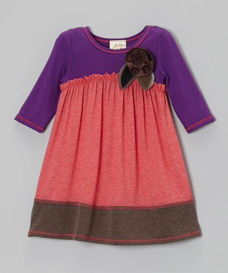 Coral & Purple Pretty Petal Dress - Girls