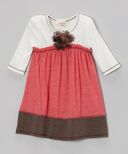 Coral & Brown Babydoll Dress - Girls