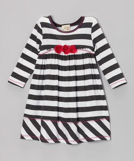 Charcoal & White Stripe Rosette Empire-Waist Dress - Girls
