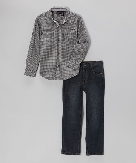 Gray Plaid Button-Up & Jeans - Infant & Toddler