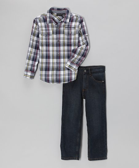 Navy Plaid Button-Up & Jeans - Infant & Toddler