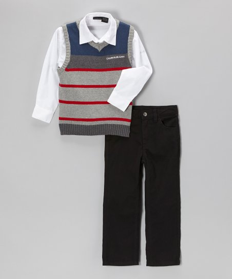 Gray & Red Stripe Sweater Vest Set - Infant, Toddler & Boys