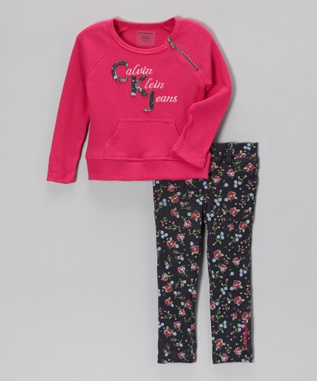 Fuchsia Thermal & Floral Skinny Jeans - Infant & Girls