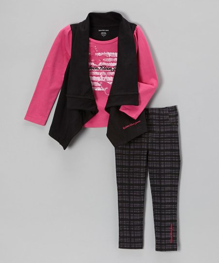 Fuchsia Layered Top & Leggings - Infant, Toddler & Girls