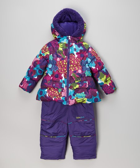 Purple Daisy Coat & Bib Pants - Infant & Toddler