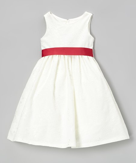 Ivory & Red Sash A-Line Dress - Toddler & Girls