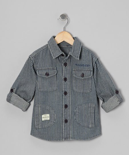 Blue & White Railroad Stripe Button-Up - Toddler & Boys