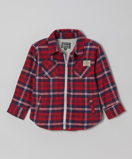 Red & Blue Plaid Flannel Zip-Up Shirt - Boys