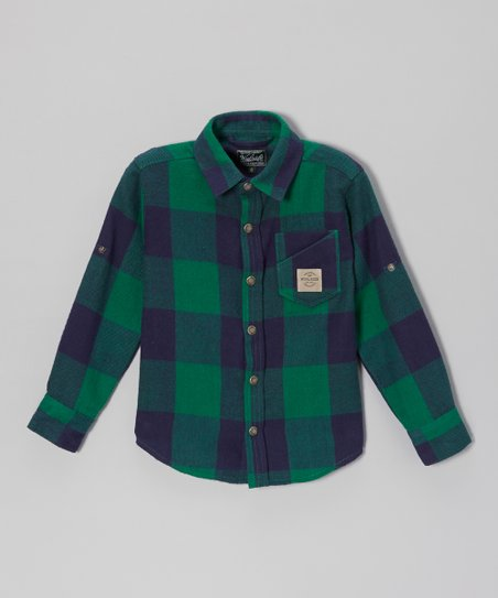 Green Signature Plaid Button-Up - Boys