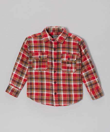 Red & White Plaid Flannel Button-Up - Infant & Boys