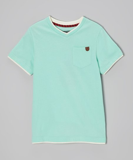 Aqua Layered V-Neck Tee - Toddler & Boys