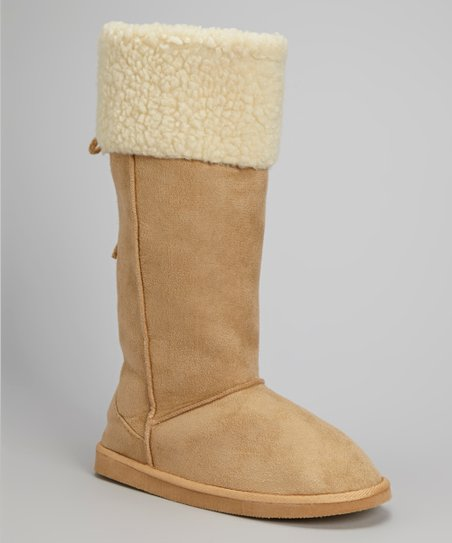 Tan Faux Shearling Collar Boot