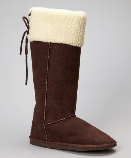 Dark Brown Faux Shearling Collar Boot