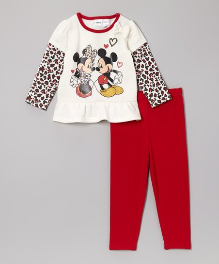 Red & White Leopard Minnie Tunic & Pants - Infant & Toddler
