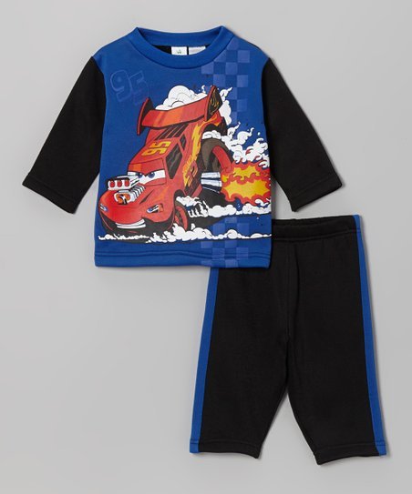 Blue & Black Cars Top & Pants - Infant