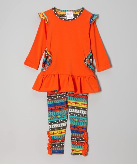 Orange Ruffle Tunic & Tribal Leggings - Infant