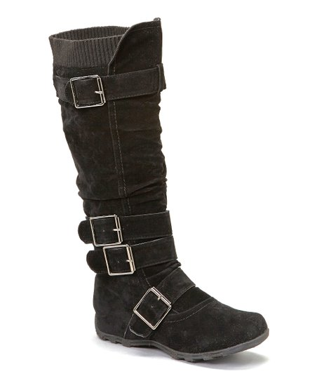Black Square Buckle Boot