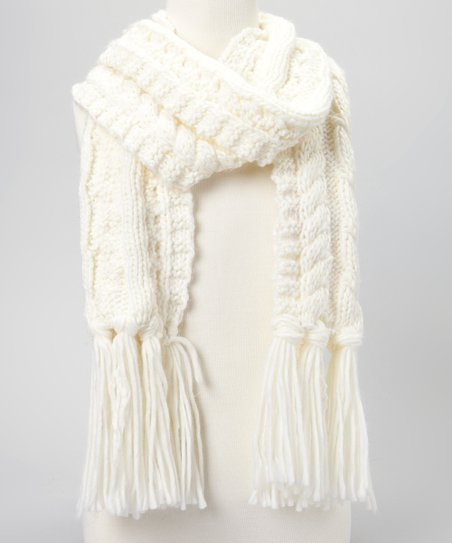 White Cable-Knit Scarf
