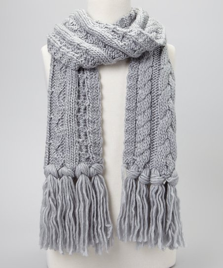Medium Gray Cable-Knit Scarf