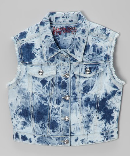 Blue Acid Wash Denim Vest - Girls