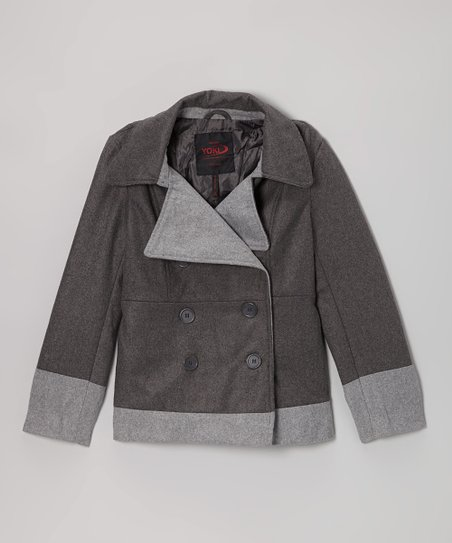 Charcoal Two-Tone Peacoat - Girls