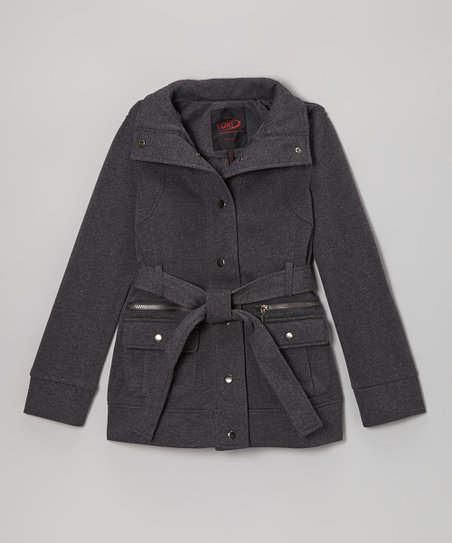 Charcoal Belted Funnel Collar Coat - Girls