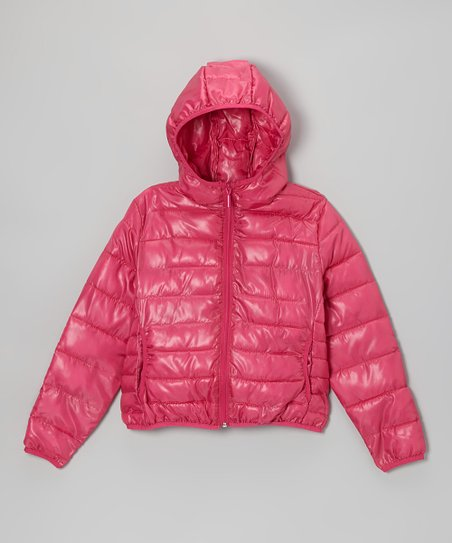 Fuchsia Hooded Puffer Jacket - Girls