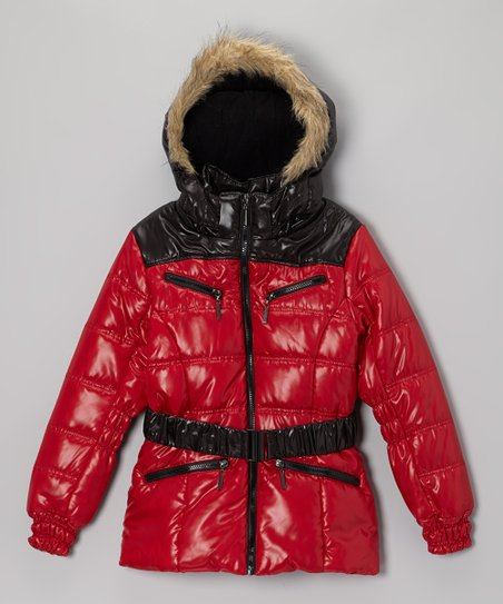 Red Quilted Puffer Coat - Toddler & Girls