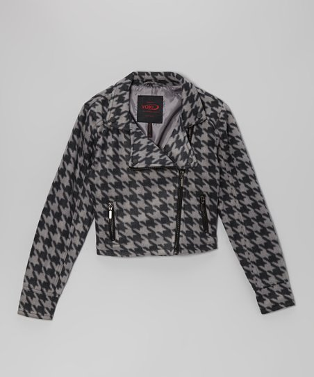 Gray & Black Houndstooth Jacket - Girls
