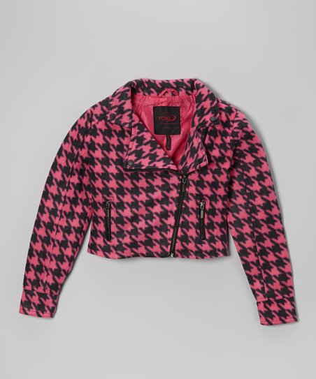 Fuchsia & Black Houndstooth Jacket - Girls