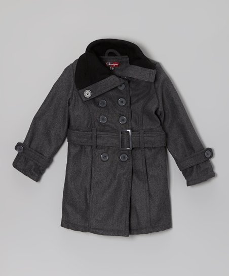 Charcoal Funnel Neck Jacket - Girls