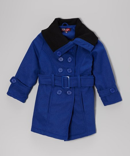 Bright Blue Funnel Neck Jacket - Girls