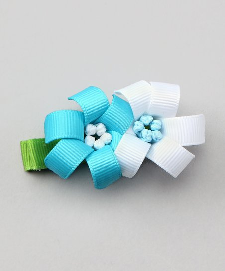 Bubbly Bows Aqua &amp; White Lilies Alligator Clip