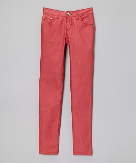 Red Coated Skinny Jeans - Toddler