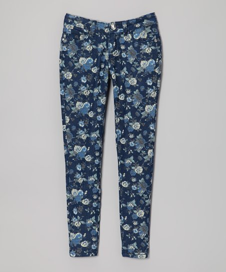 Denim Blue Floral Skinny Jeans - Toddler & Girls