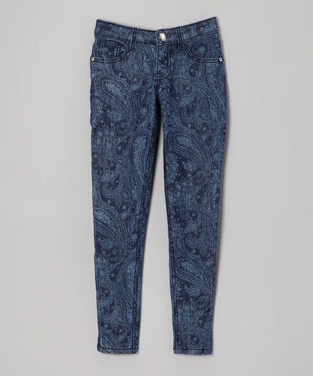 Denim Blue Paisley Skinny Jeans - Toddler & Girls