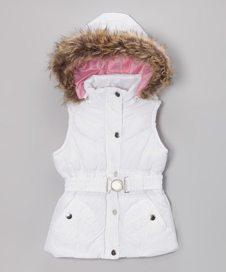 White Belted Hooded Puffer Vest - Toddler & Girls