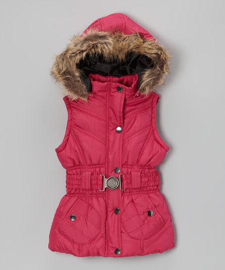 Raspberry Belted Hooded Puffer Vest - Toddler & Girls