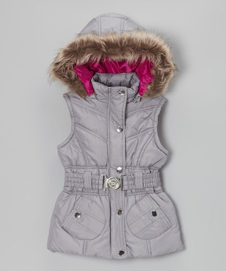 Silver Belted Hooded Puffer Vest - Toddler & Girls