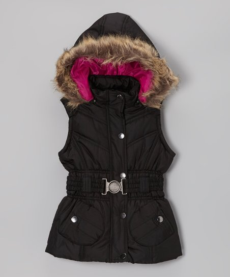 Black Belted Hooded Puffer Vest - Toddler & Girls