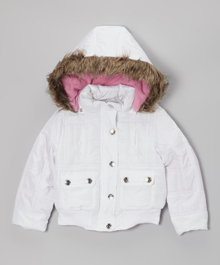 White Hooded Puffer Jacket - Girls