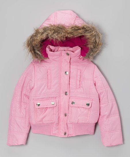 Pink Hooded Puffer Jacket - Girls